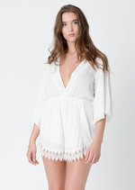 Corina Crochet Trim Playsuit White